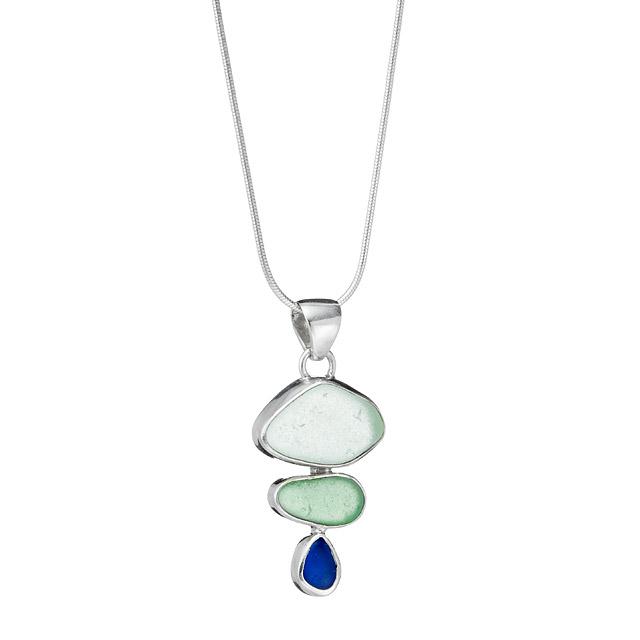 Sea Glass Trio Bezel Necklace | UncommonGoods