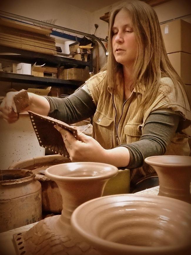 Tracy Shea making her Pedestal Jewelry Holder