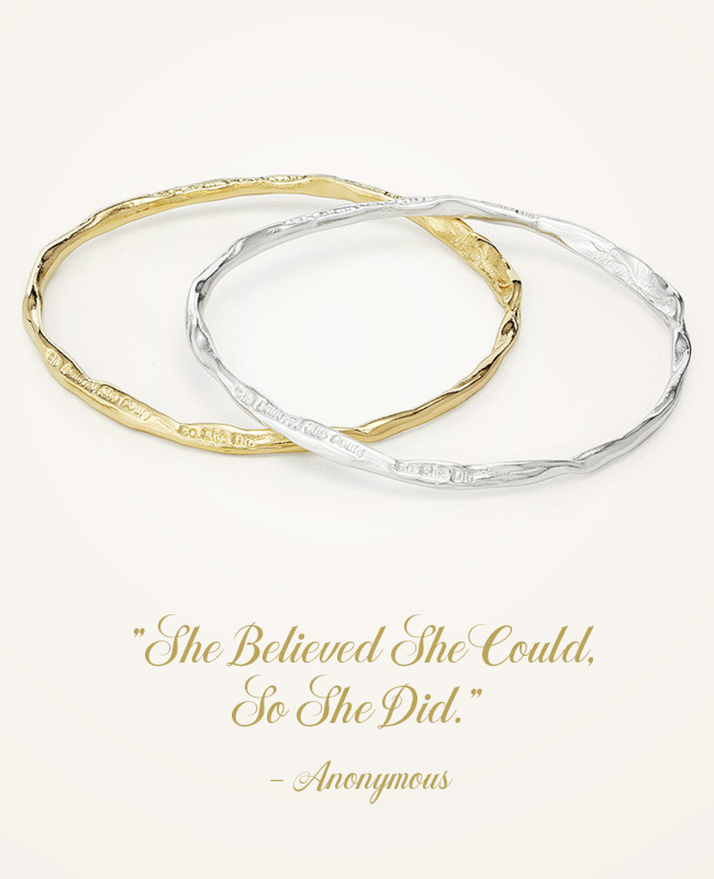 "Inspirational Jewelry - ""She Believed She Could"" Bangle 