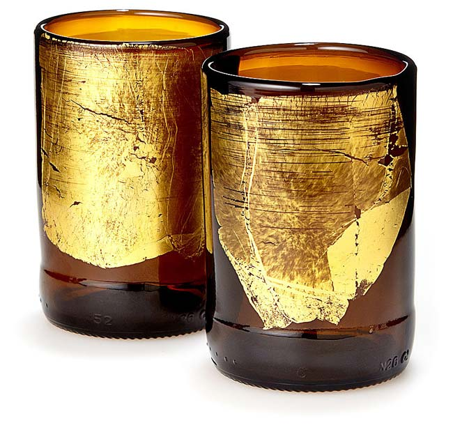 Gold Leaf Upcycled Beer Bottle Glasses | UncommonGoods