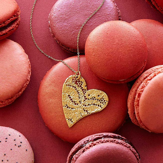 Precious Dipped Lace Heart Necklace | UncommonGoods