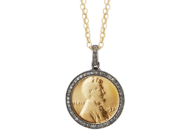 Diamond Penny Necklace With Personalized Year | UncommonGoods