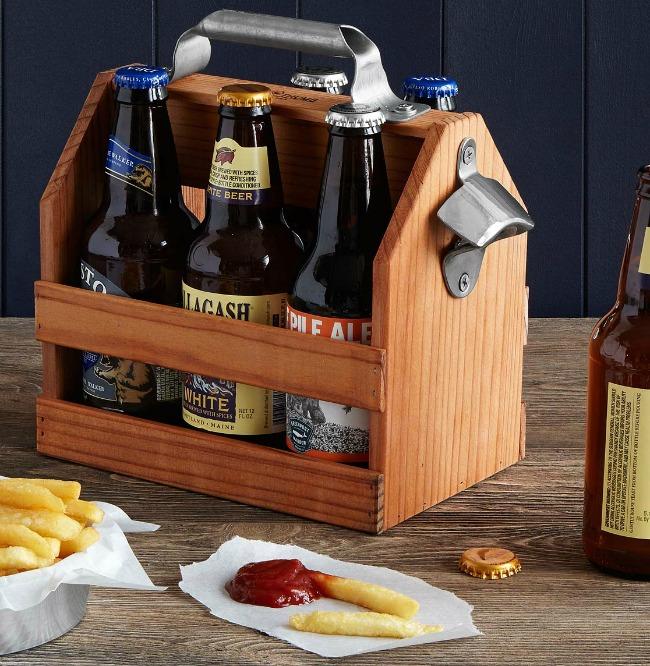 Wooden Beer Caddy with Bottle Opener | UncommonGoods