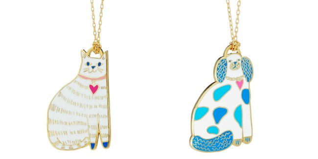 Scratches the Cat and Patches the Pup Necklaces, exclusively at UncommonGoods