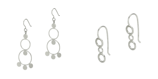 The Bollywood Earrings and Sterling Silver Bubble Earrings