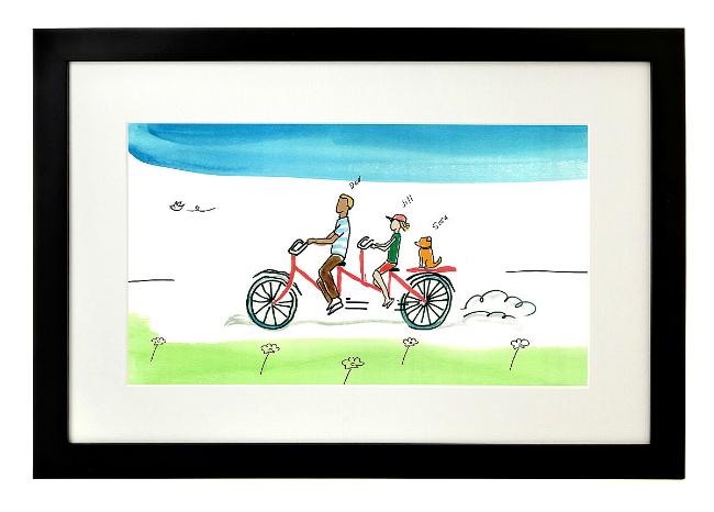 Personalized Family Tandem Bike Art
