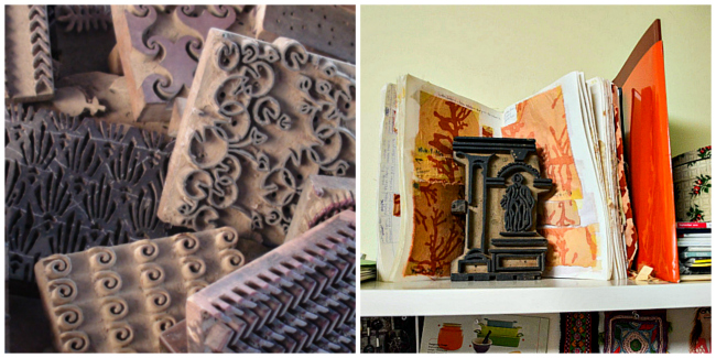 The woodblocks Rachna and Ruchika use to make their beautiful prints