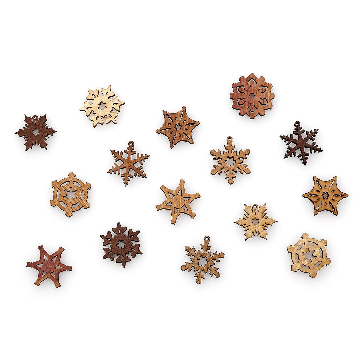 Mini Wood Snowflake Gift Box - Set of 15 1 thumbnail View Life Size Image Mini Wood Snowflake Gift Box - Set of 15