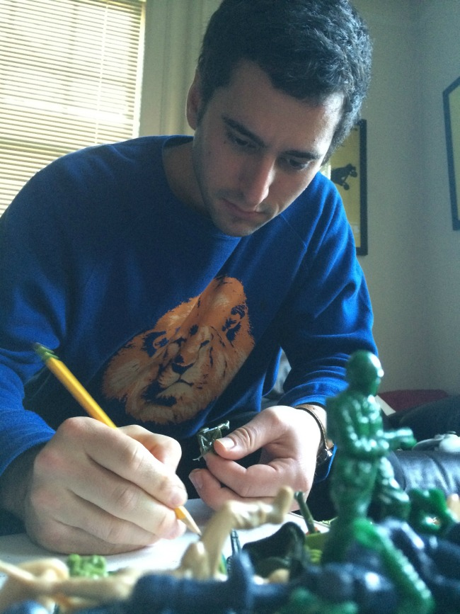 Dan designing new Yoga Joes poses in his home studio