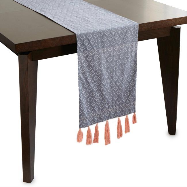 Reversible Block Print Tassel Table Runner - UncommonGoods
