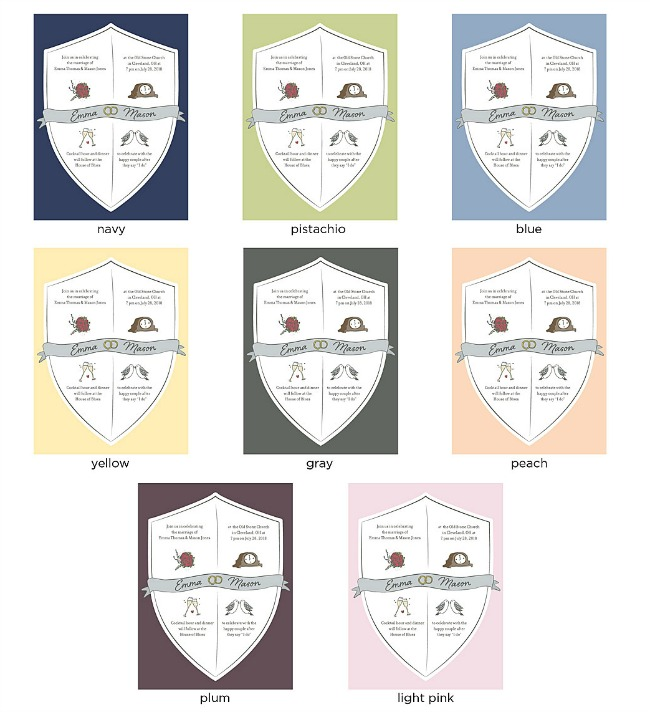 Wedding Crest Color Options - UncommonGoods