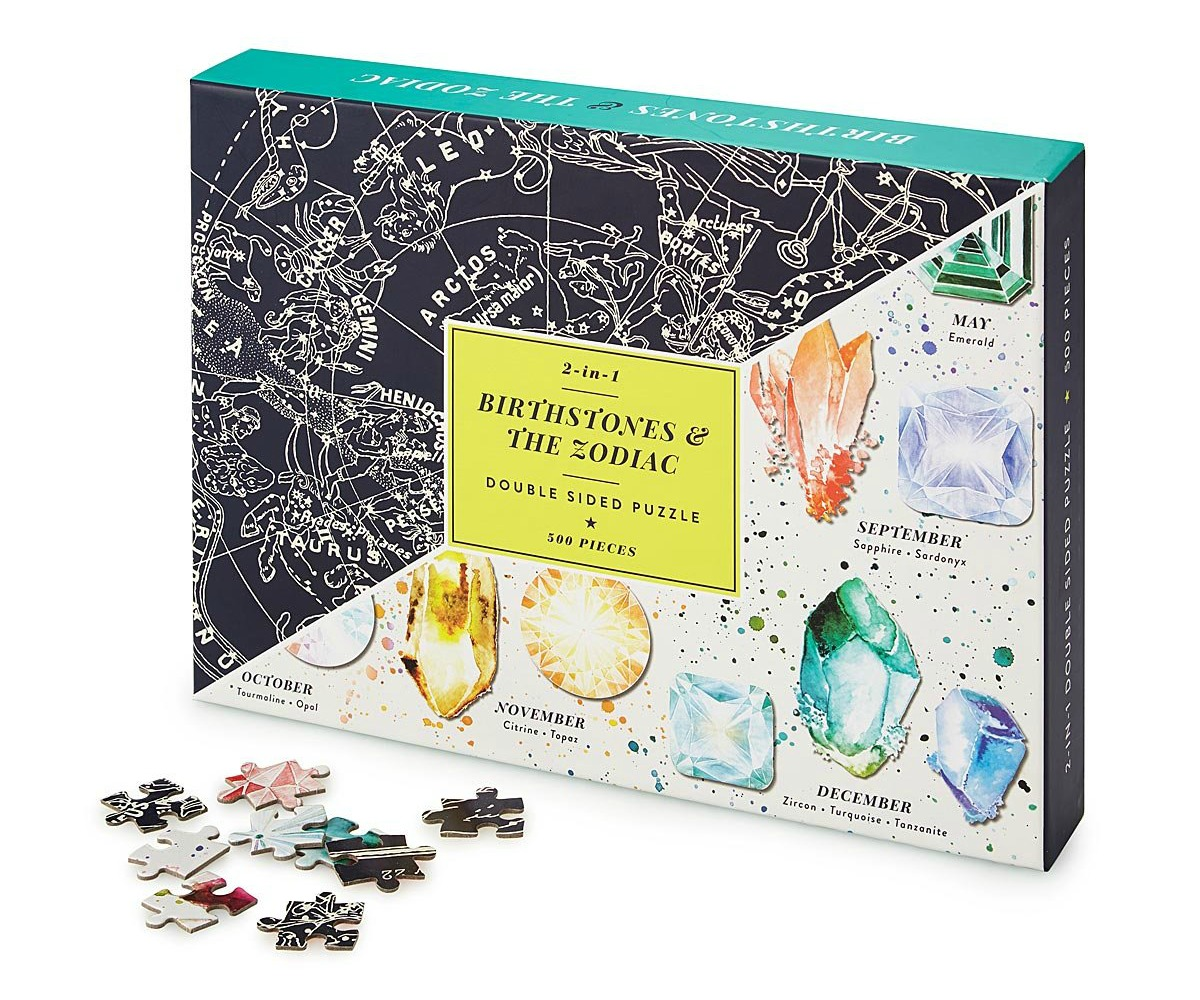 Birthstone & Zodiac Double-Sided Puzzle | UncommonGoods