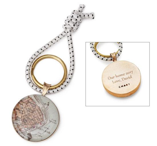 Bronze Custom Map Key Ring | UncommonGoods