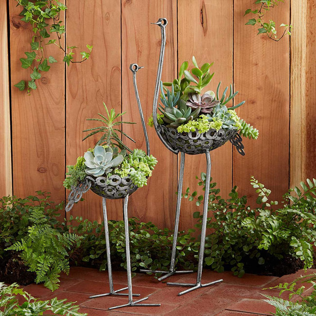 Recycled Metal Ostrich Planter | UncommonGoods