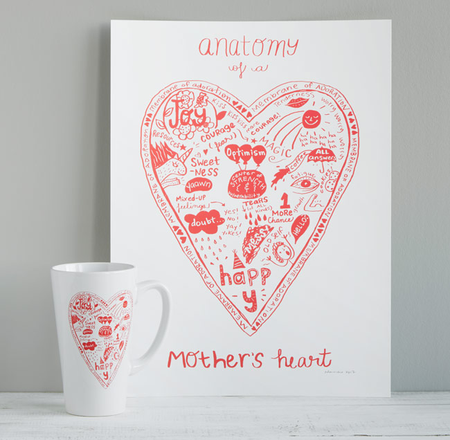 Anatomy of a Mother's Heart Screen Print | UncommonGoods