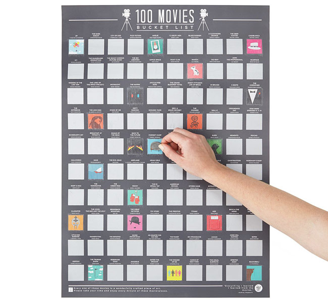 100 Movies Scratch-Off Poster | UncommonGoods