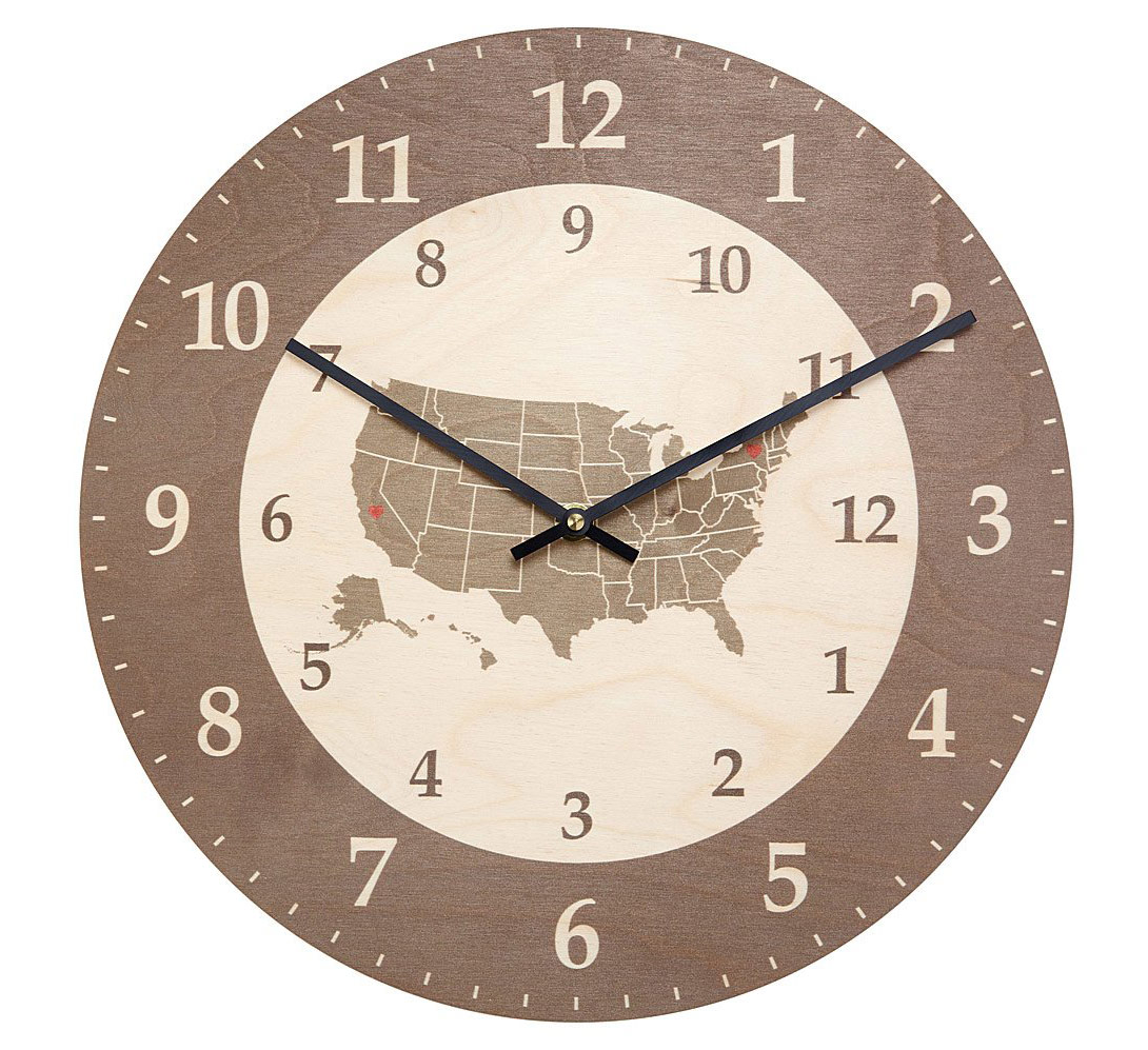 Love Goes the Distance Time Zone Clock | UncommonGoods
