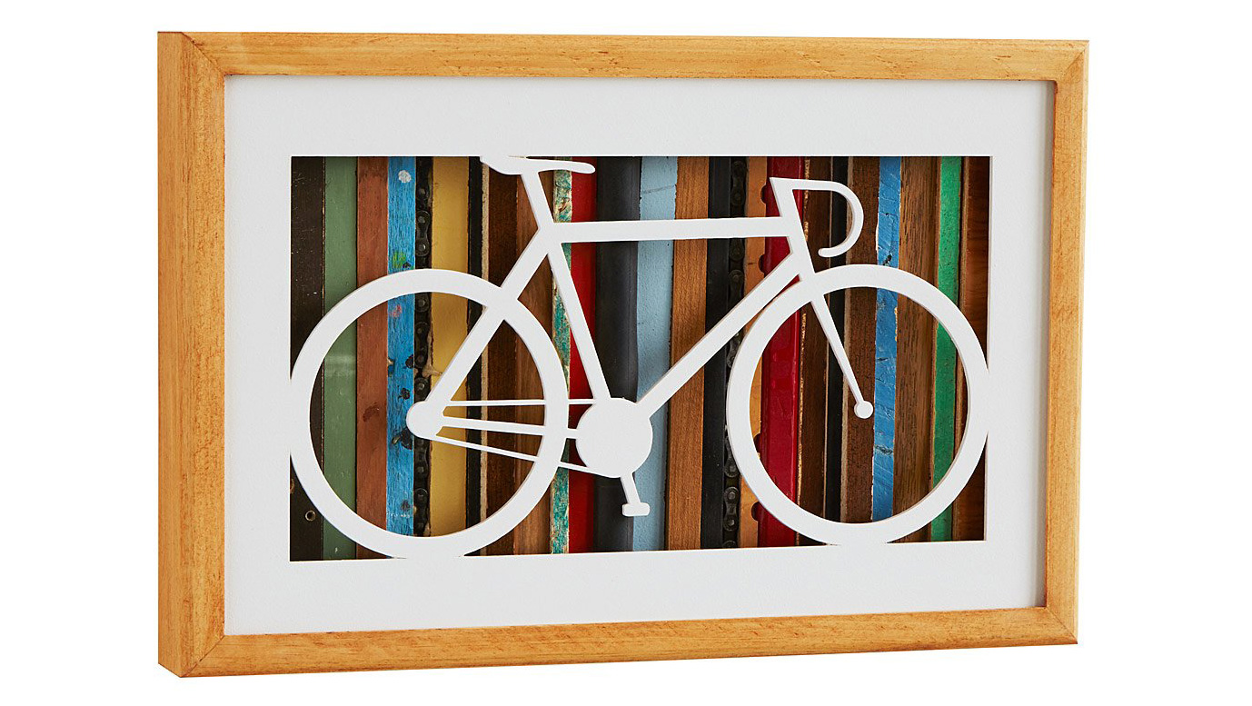 Reclaimed Wood Bike Silhouette Art | UncommonGoods