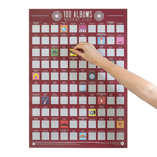 100 Albums Scratch Off Poster | UncommonGoods