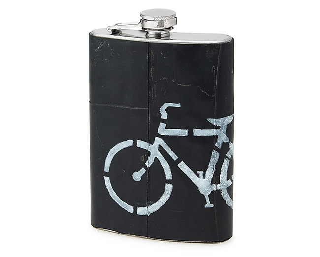 Upcycled Bike Tire Flask | UncommonGoods