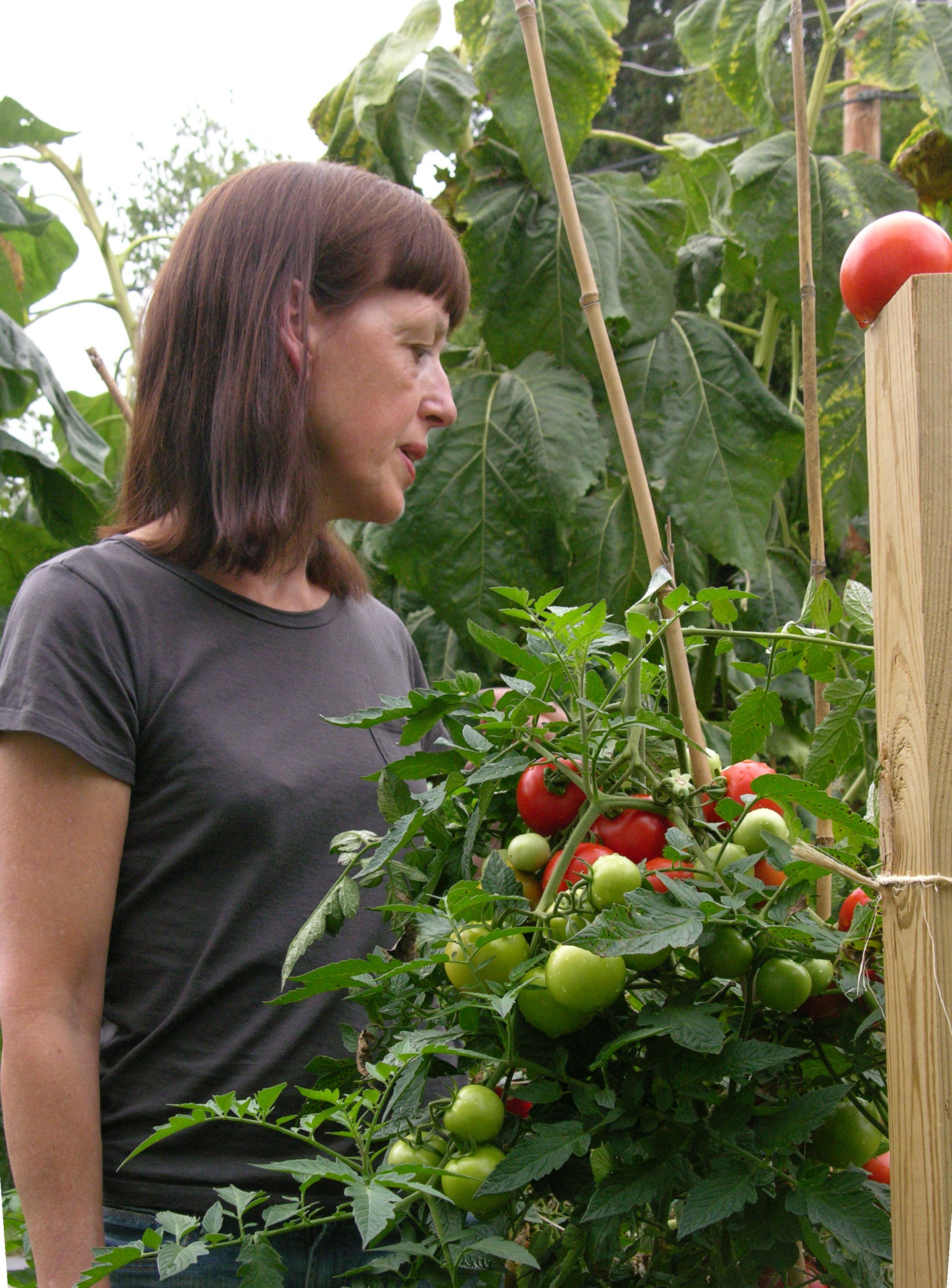 Beth in her garden.