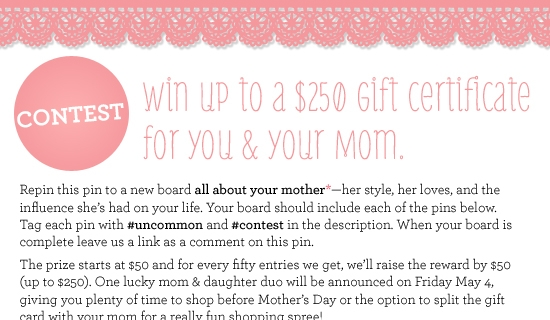 Pinterest Contest: Happy Mother's Day
