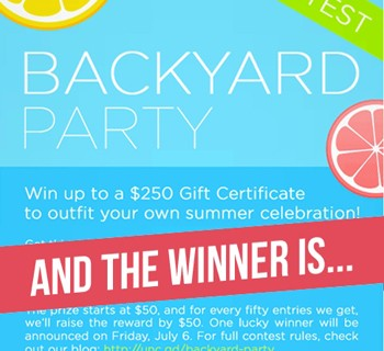 Our Backyard Party Pinterest Contest Winner!