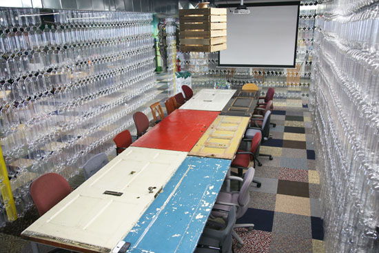 Conference table made of doors | TerraCycle Studio Tour | UncommonGoods