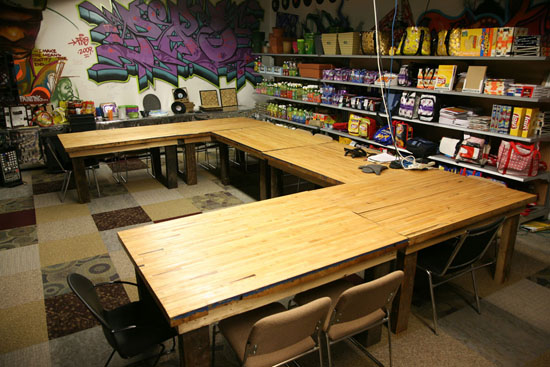 Table made of an old bowling alley | TerraCycle Studio Tour | UncommonGoods