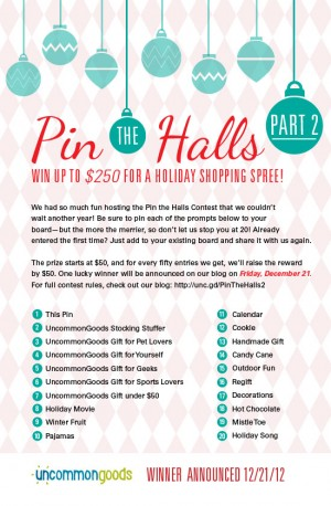 Pin The Halls Pinterest Contest - Part 2 | UncommonGoods