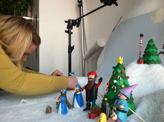 Gaby building the set of the clay animation email | UncommonGoods