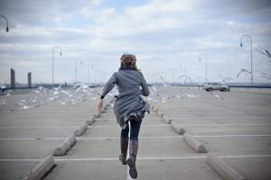 Sarah chasing birds