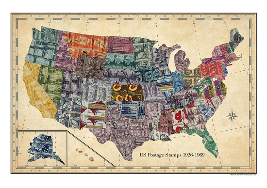 Stamp Map USA | UncommonGoods