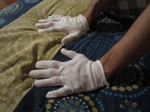 Wearing cotton gloves while you sleep to let the lotion set in | UncommonGoods