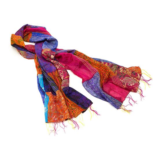 Silk Patchwork Sari Scarf | UncommonGoods