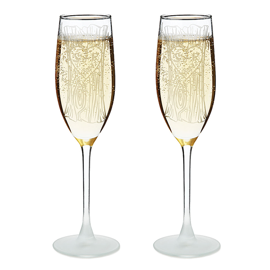 Etched Champagne Flutes | UncommonGoods