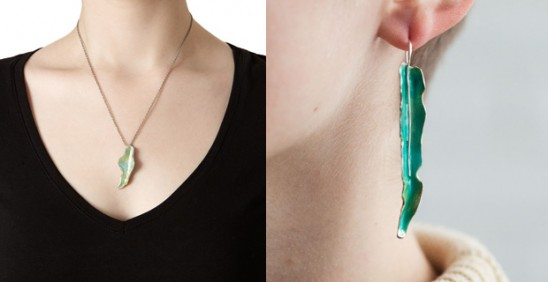 Enameled Silver Leaf Jewelry | UncommonGoods