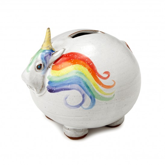 Elwood the Rainbow Unicorn Bank | UncommonGoods