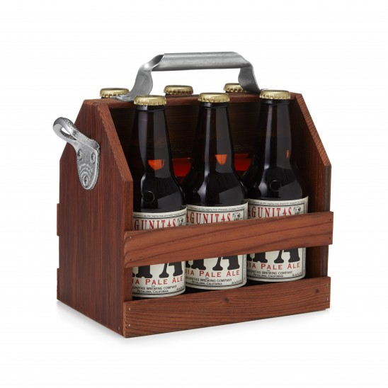 Wooden Beer Caddy with Bottle Opener | UncommonGoods
