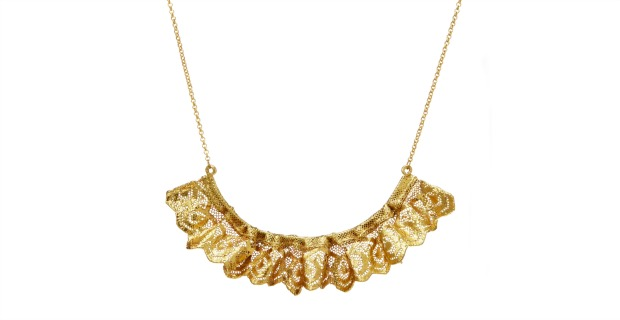 Ruffled Gold Dipped Lace Necklace | UncommonGoods