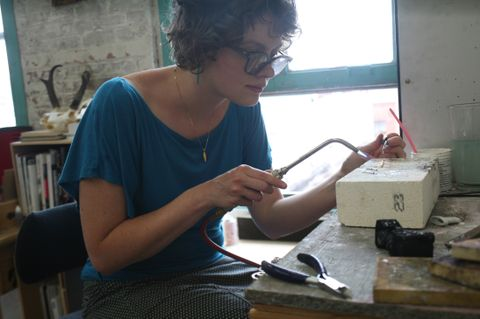 Erin working in her studio.