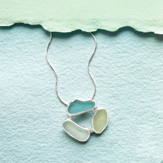 3 Stone Sea Glass Necklace | Courtney Gillen | UncommonGoods