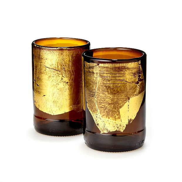 Gold Leaf Upcycled Beer Bottle Tumbler Set | UncommonGoods