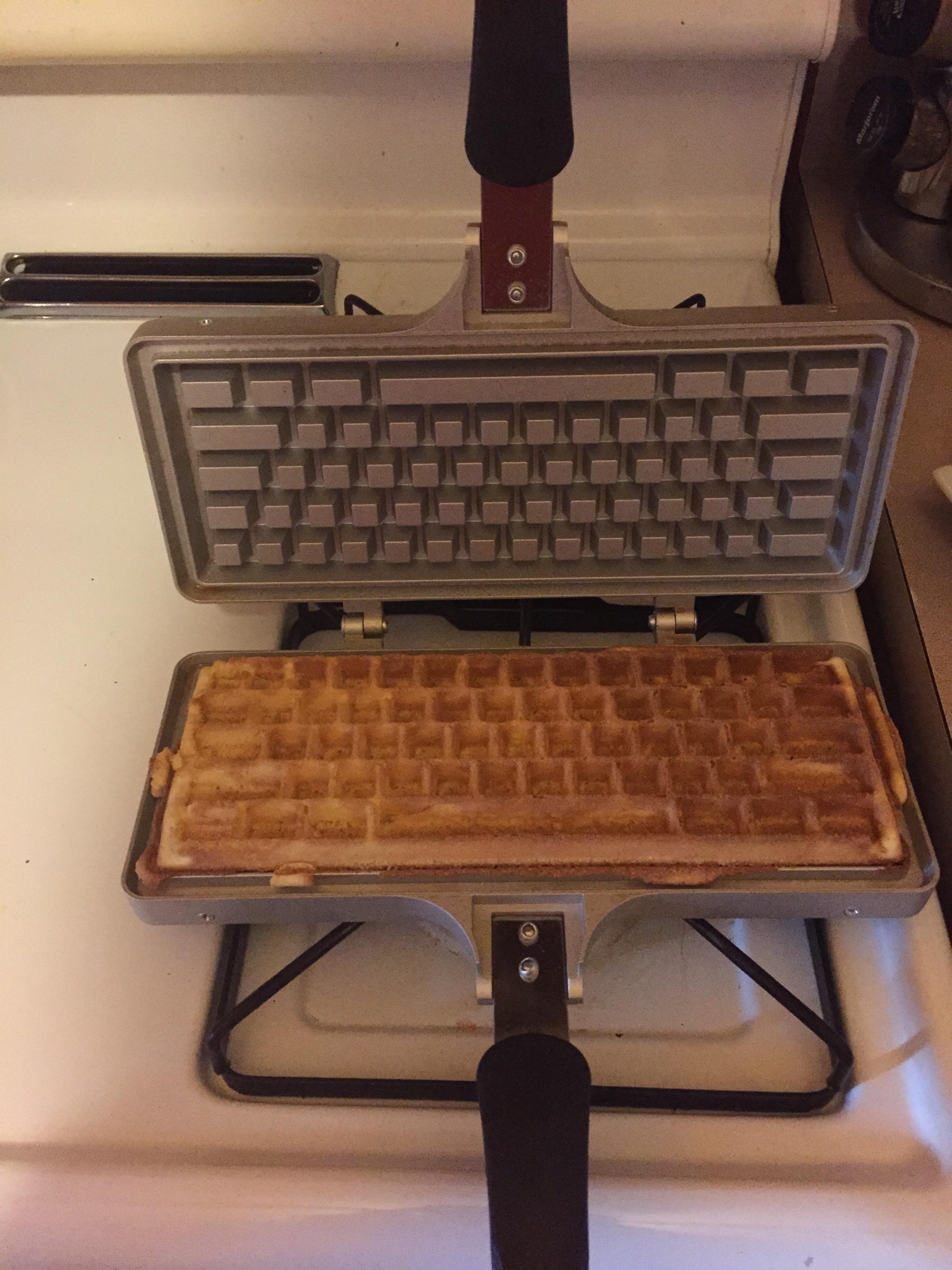 Finished Waffles Look Like A Computer Keyboard!