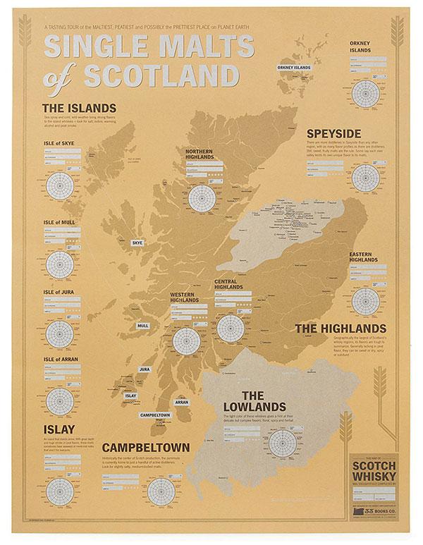 Single Malts of Scotland Tasting Map | UncommonGoods