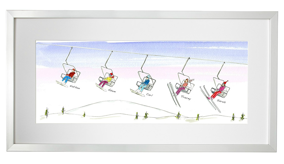 Personalized Family Ski and Snowboard Art