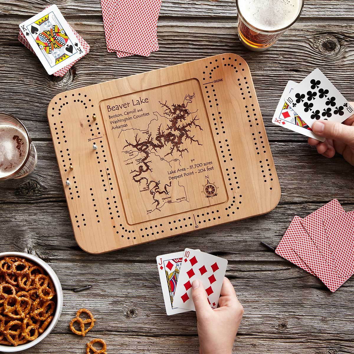 Custom Lake Cribbage Board | UncommonGoods