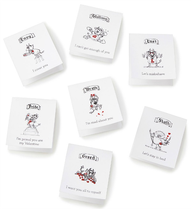 Printable Seven Deadly Sins Valentine's Cards | UncommonGoods