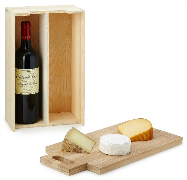 Wine Bottle Carrier with Cutting Board   UncommonGoods