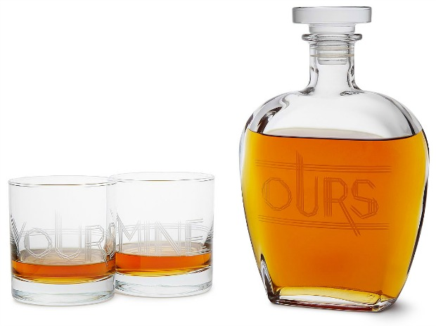 Yours, Mine, and Ours Engraved Decanter Set | UncommonGoods